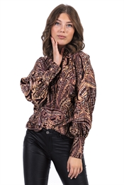 Picture of Amberly Blouse Bordeaux/Camel/Black